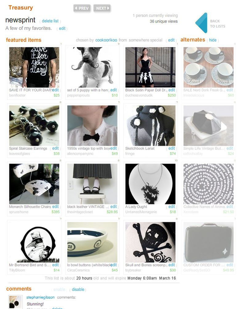 Etsy Treasury - newsprint