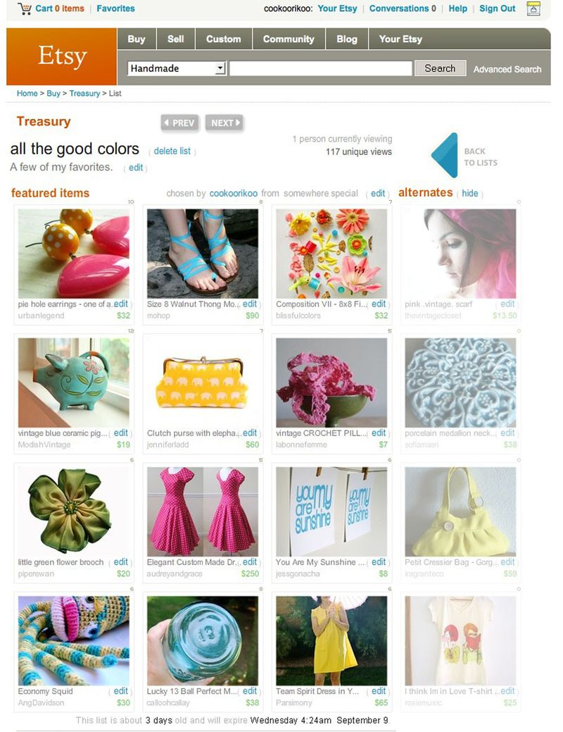 Etsy Treasury - all the good colors