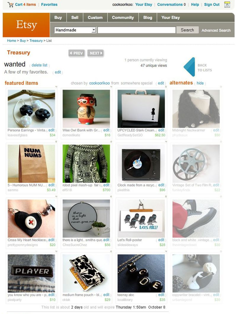 Etsy Treasury - wanted